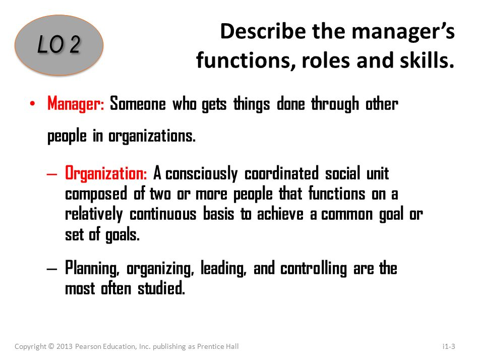 Describe the manager's functions, roles and skills.