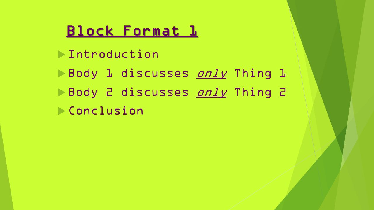 compare and contrast essays 61557 inform reader about the 3 block format 1 61557 introduction 61557 body 1 discusses only thing 1 61557 body 2 discusses only thing 2 61557 conclusion