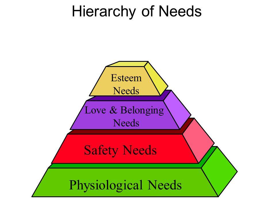 Esteem Needs Love & Belonging Needs Physiological Needs Safety Needs Hierarchy of Needs