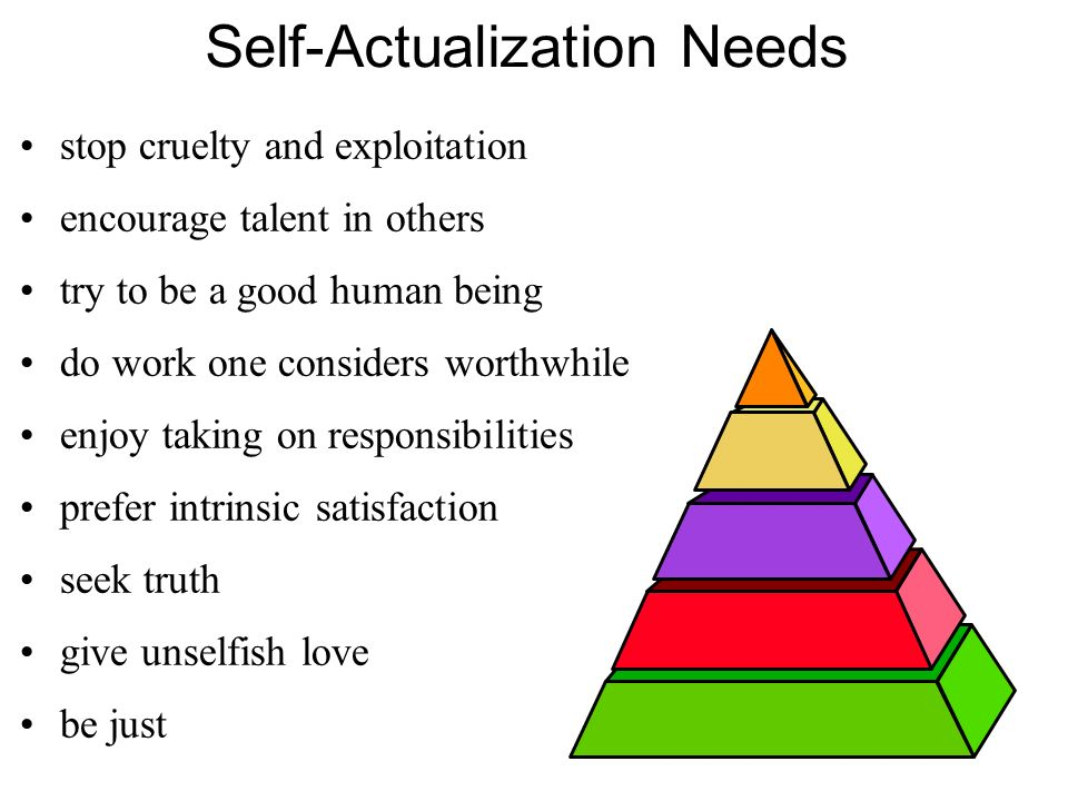 Self-Actualization Needs stop cruelty and exploitation encourage talent in others try to be a good human being do work one considers worthwhile enjoy taking on responsibilities prefer intrinsic satisfaction seek truth give unselfish love be just