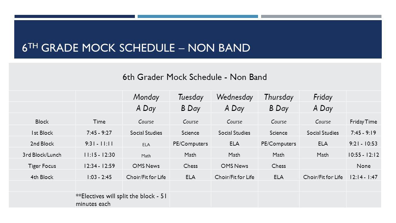 mock schedule