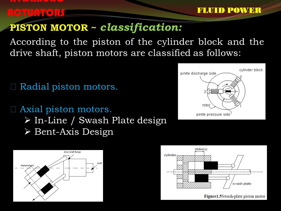 FLUID POWER HYDRAULIC ACTUATORS PISTON MOTOR ~ classification: According to the piston of the cylinder block and the drive shaft, piston motors are classified as follows:  Radial piston motors.
