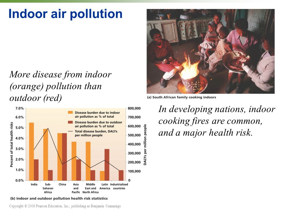 Copyright © 2006 Pearson Education, Inc., publishing as Benjamin Cummings Indoor air pollution More disease from indoor (orange) pollution than outdoor (red) In developing nations, indoor cooking fires are common, and a major health risk.