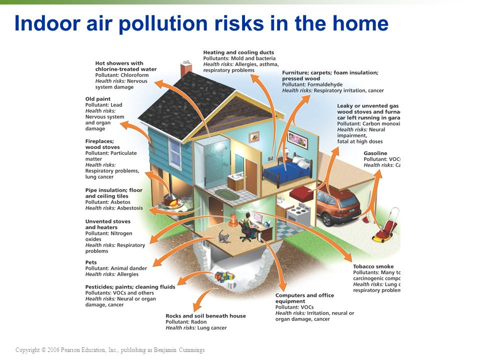 Copyright © 2006 Pearson Education, Inc., publishing as Benjamin Cummings Indoor air pollution risks in the home