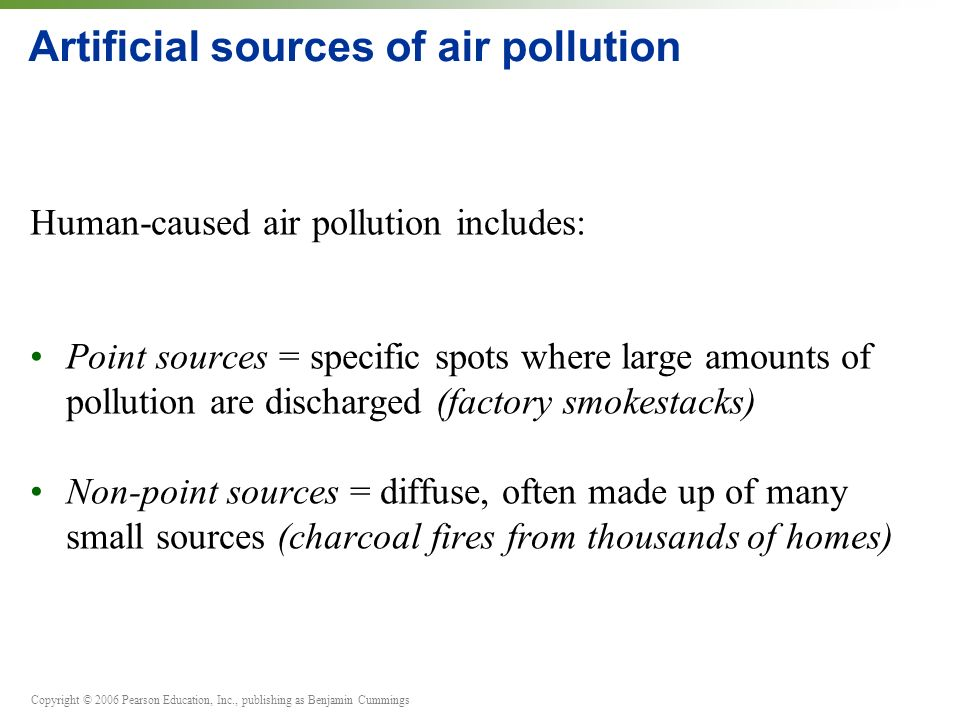 Copyright © 2006 Pearson Education, Inc., publishing as Benjamin Cummings Artificial sources of air pollution Human-caused air pollution includes: Point sources = specific spots where large amounts of pollution are discharged (factory smokestacks) Non-point sources = diffuse, often made up of many small sources (charcoal fires from thousands of homes)