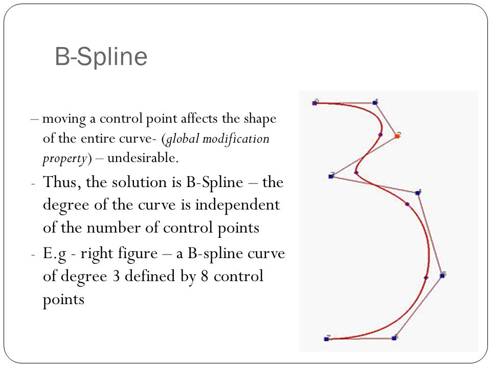 – moving a control point affects the shape of the entire curve- (global modification property) – undesirable.