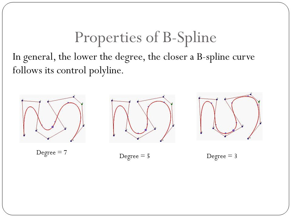 Properties of B-Spline In general, the lower the degree, the closer a B-spline curve follows its control polyline.