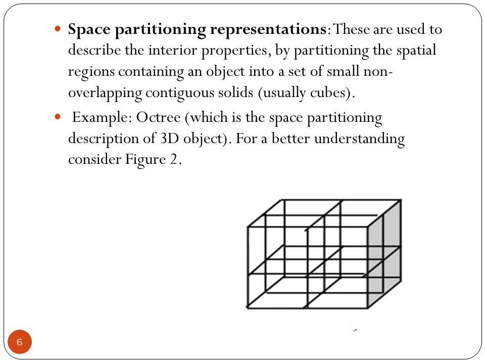 Space partitioning representations: These are used to describe the interior properties, by partitioning the spatial regions containing an object into a set of small non- overlapping contiguous solids (usually cubes).
