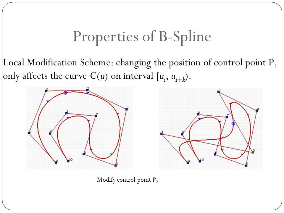 Properties of B-Spline Local Modification Scheme: changing the position of control point P i only affects the curve C(u) on interval [u i, u i+k ).