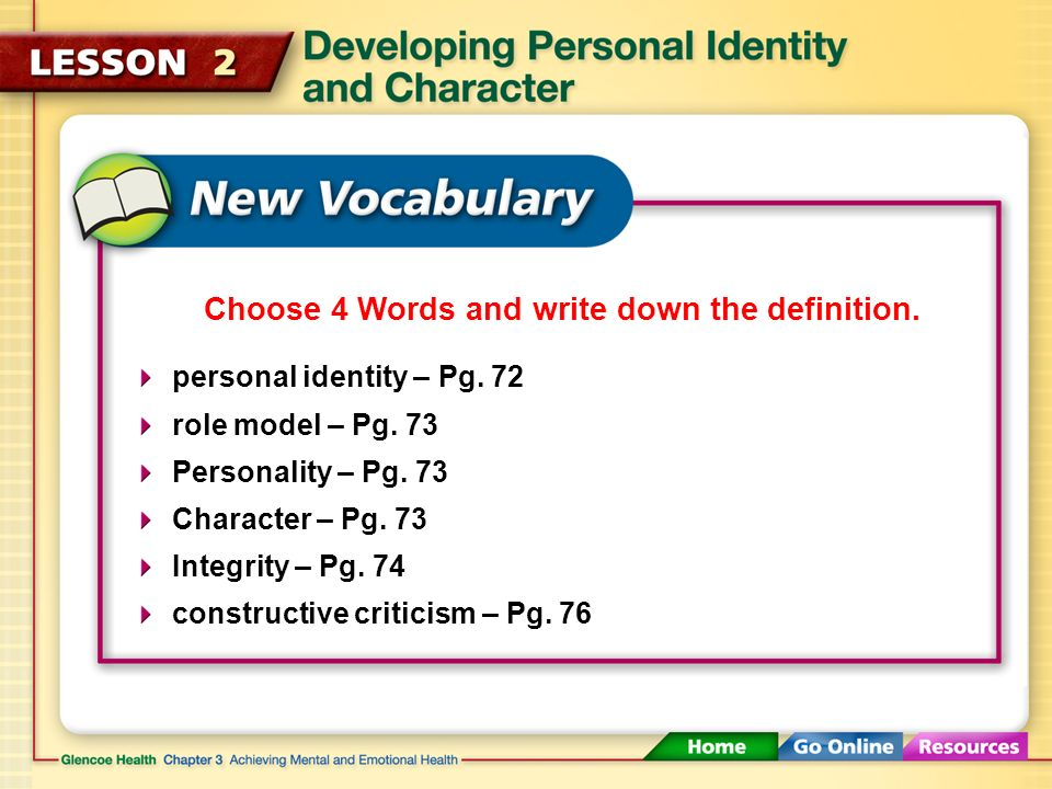 personal identity – Pg.72 role model – Pg. 73 Personality – Pg.