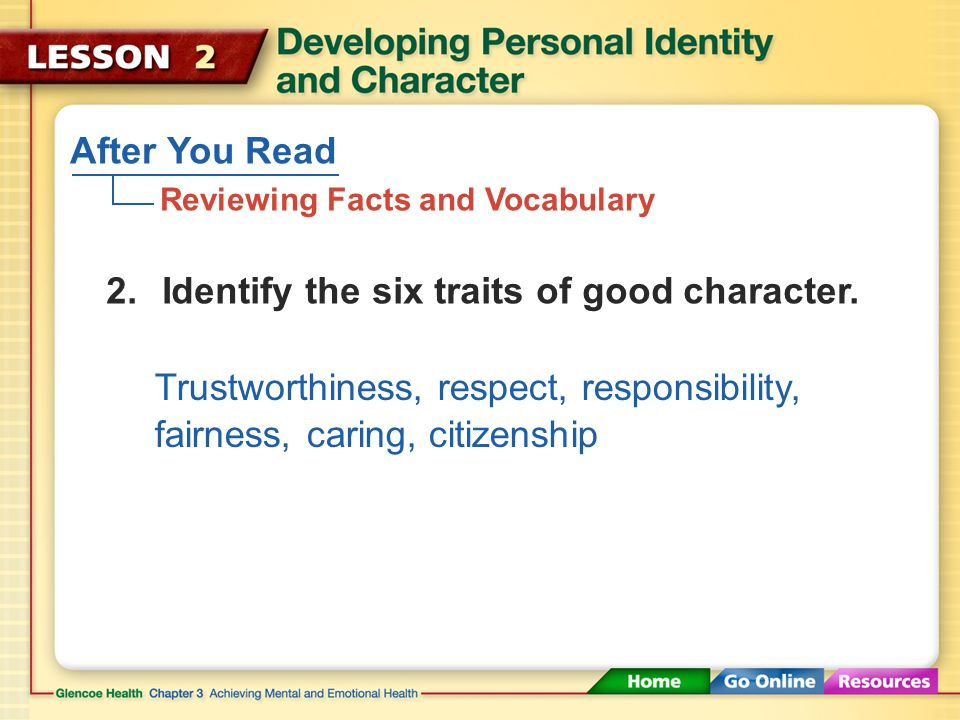 After You Read Reviewing Facts and Vocabulary 1.Define the term personal identity.