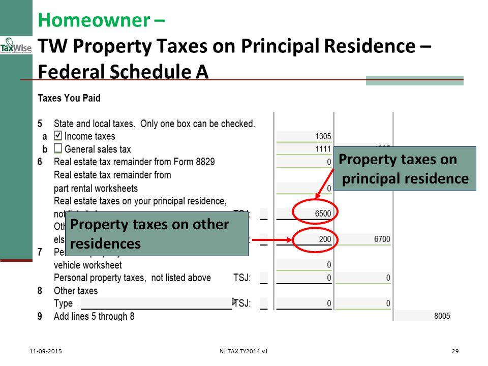 Itemized Deductions NJ Property Tax Deduction Credit Pub 4012 – Form 8829 Worksheet
