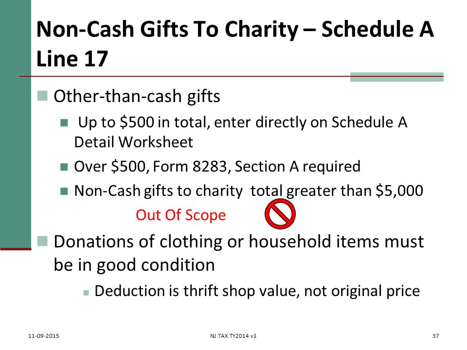 Itemized Deductions NJ Property Tax Deduction Credit Pub 4012 – Non Cash Charitable Contributions Worksheet