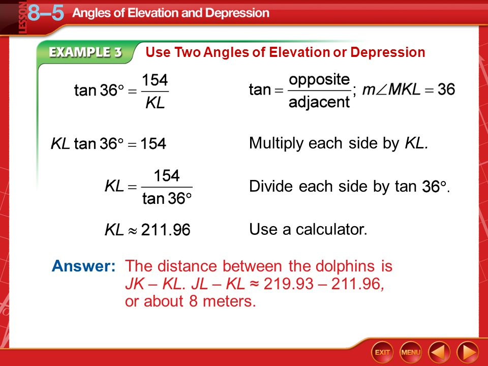 Geometry worksheet 8 5 angles of elevation and depression answer key