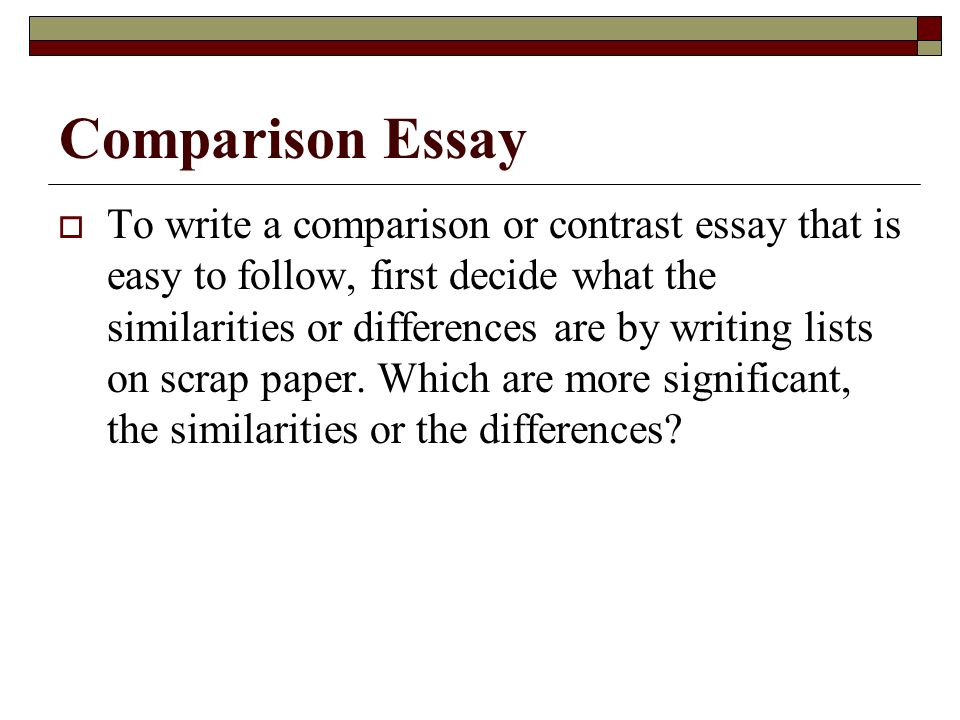 define comparison contrast essay