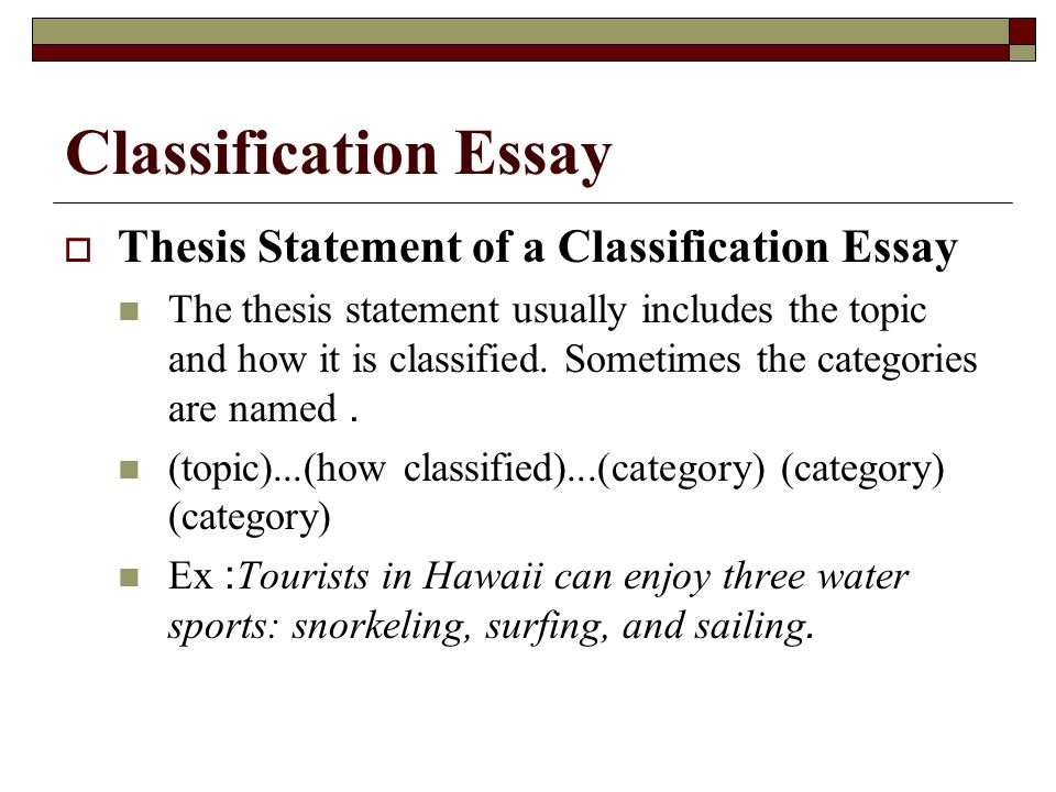 Topics For Classification Essays