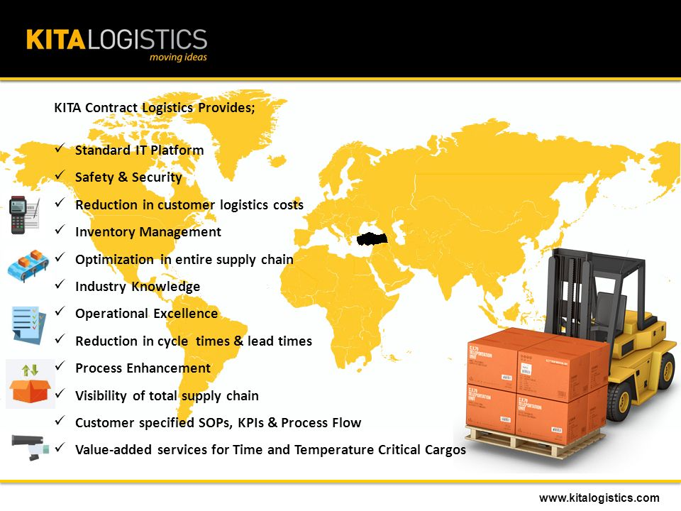 KITA Contract Logistics Provides; Standard IT Platform Safety & Security Reduction in customer logistics costs Inventory Management Optimization in entire supply chain Industry Knowledge Operational Excellence Reduction in cycle times & lead times Process Enhancement Visibility of total supply chain Customer specified SOPs, KPIs & Process Flow Value-added services for Time and Temperature Critical Cargos