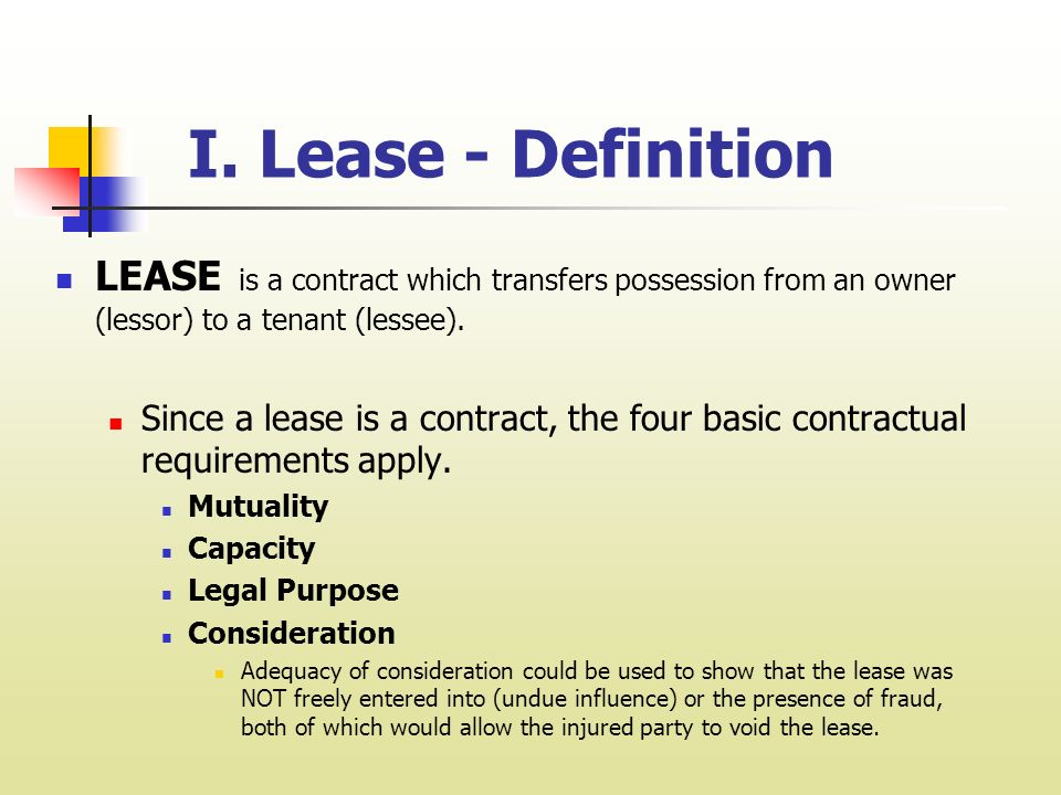 Chapter  Leases And Leasing I Lease  Definition Lease Is A