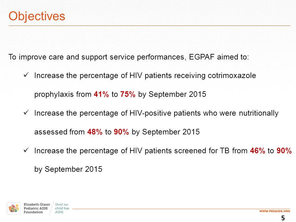 Objectives To improve care and support service performances, EGPAF aimed to: Increase the percentage of HIV patients receiving cotrimoxazole prophylaxis from 41% to 75% by September 2015 Increase the percentage of HIV-positive patients who were nutritionally assessed from 48% to 90% by September 2015 Increase the percentage of HIV patients screened for TB from 46% to 90% by September