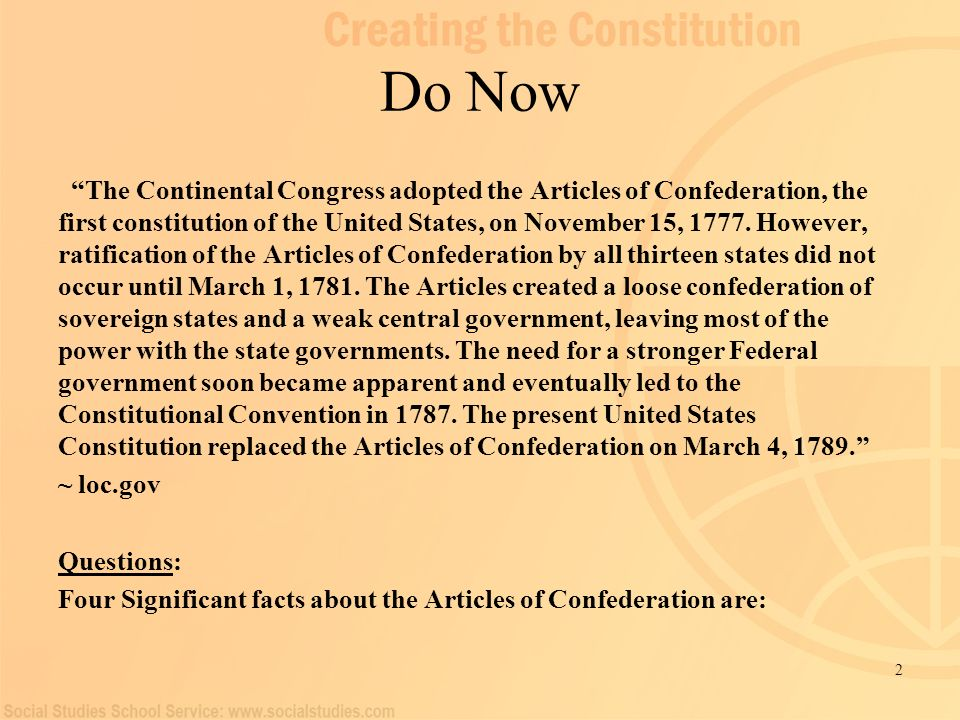 Aim: To Argue whether or not the Articles of Confederation were a ...