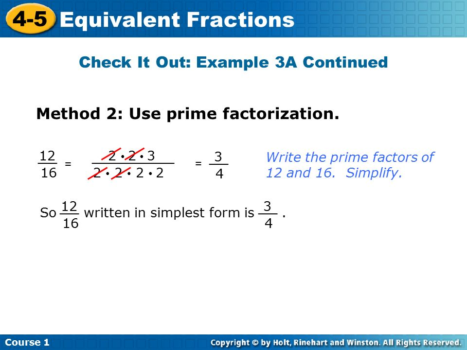 4-5 Equivalent Fractions Course 1 Warm Up Warm Up Problem of the ...