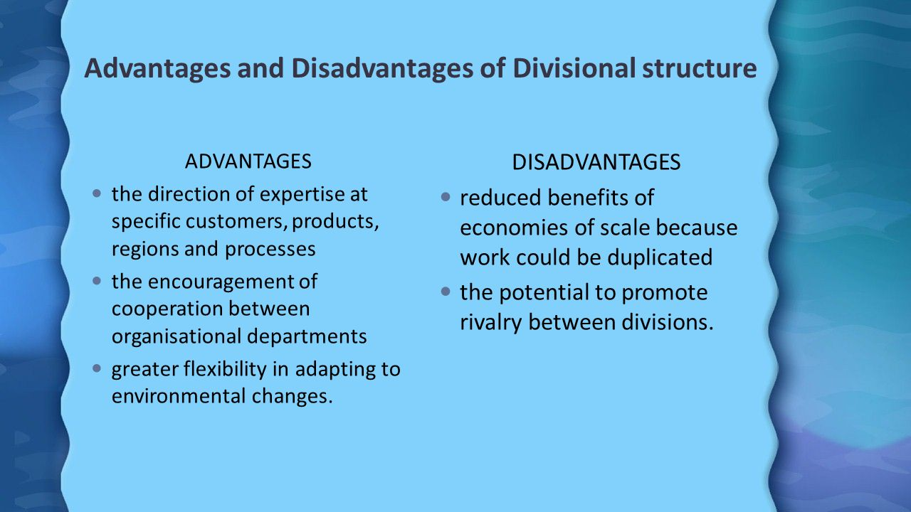 advantages and disadvantages of structures What are the advantages and disadvantages of the five structures frynas & mellahi (2015) defined the five structures followed by multinationa organizations to be international division structure, geographic division structure, product division structure and a matrix structure.