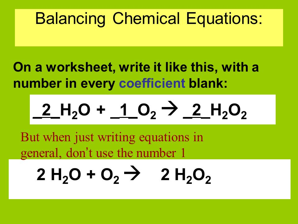 Chemical equation worksheet 2