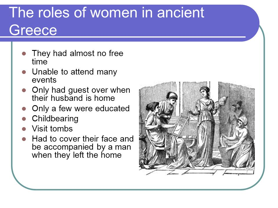 the situation of women in ancient greece Aspects of culture at corinth since zinserling's purpose was to study ancient women and but the italian customs cannot have much bearing on the greek situation.