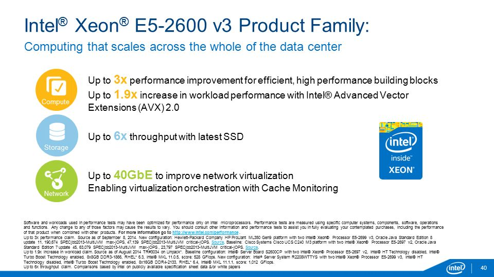 Intel ® Xeon ® E5-2600 v3 Product Family: 40 Software and workloads used in performance tests may have been optimized for performance only on Intel microprocessors.