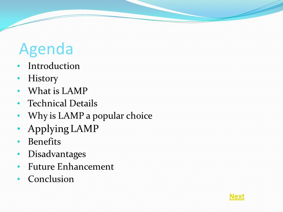 Exceptional 2 Agenda Introduction History What Is LAMP Technical Details Why Is LAMP A  Popular Choice Applying LAMP Benefits Disadvantages Future Enhancement  Conclusion ...