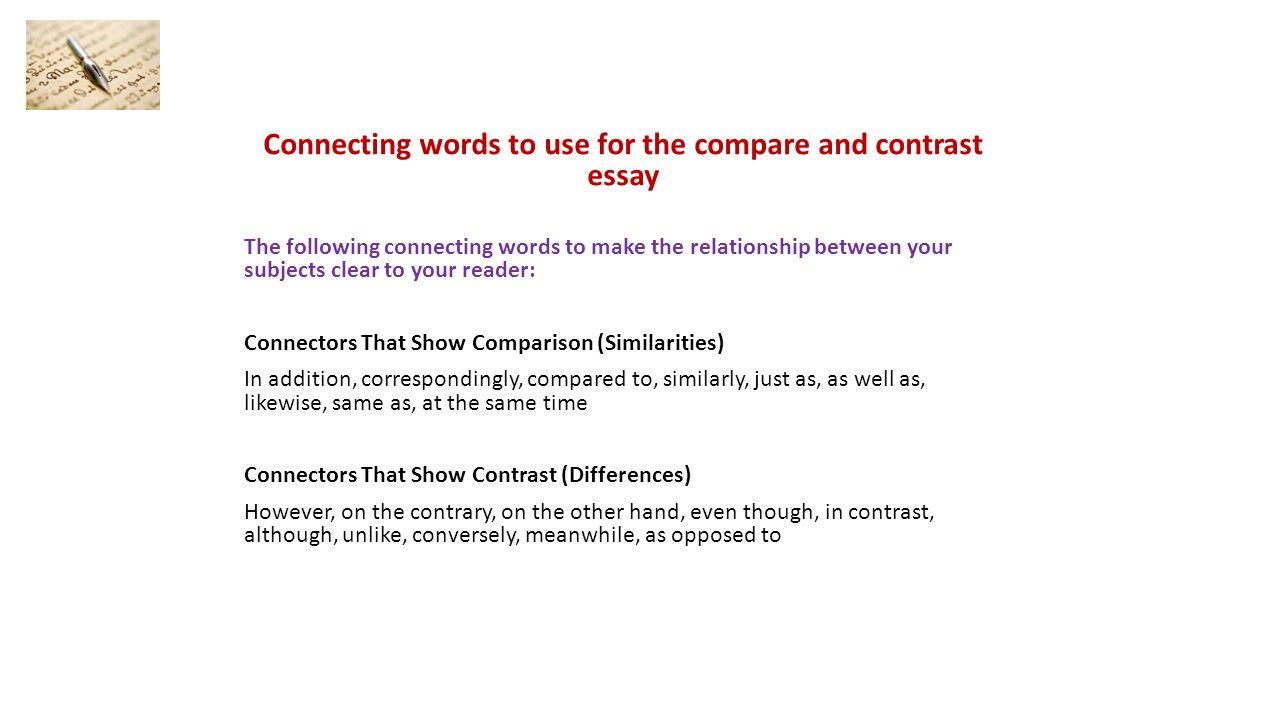 a compare and contrast essay what is a comparative and contrast 5 connecting