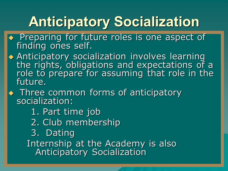 anticipatory socialization in work essay