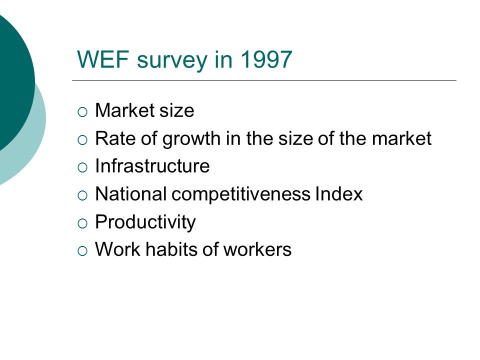 WEF survey in 1997  Market size  Rate of growth in the size of the market  Infrastructure  National competitiveness Index  Productivity  Work habits of workers