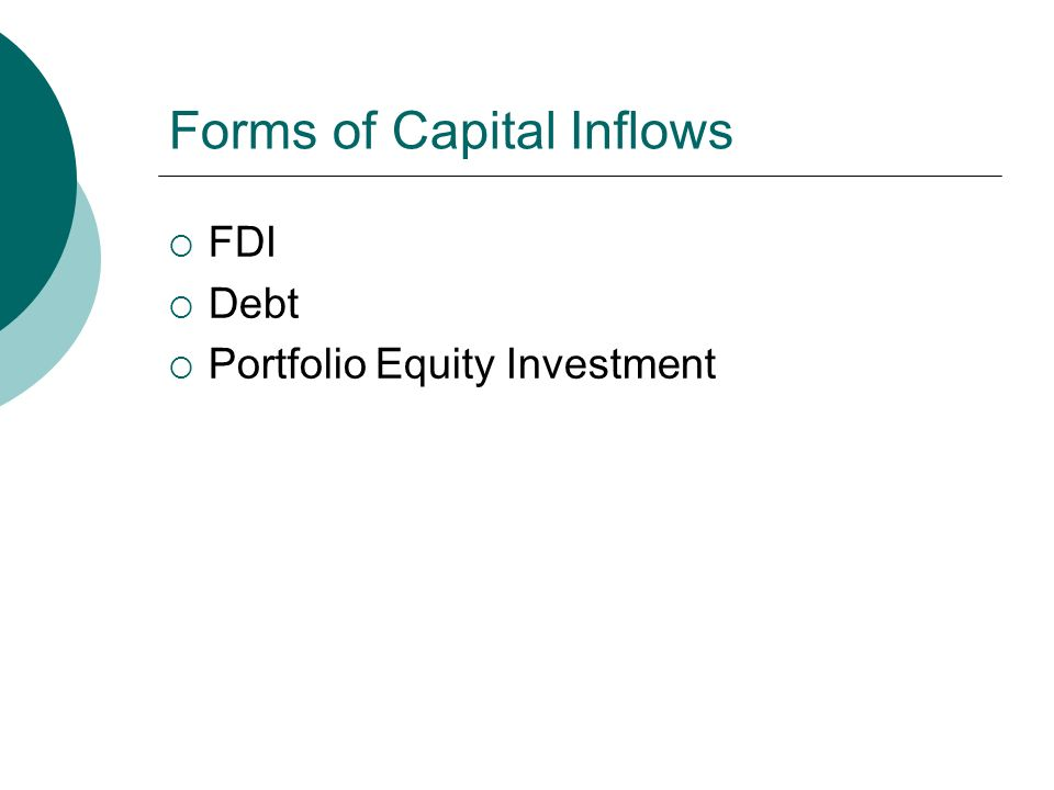 Forms of Capital Inflows  FDI  Debt  Portfolio Equity Investment
