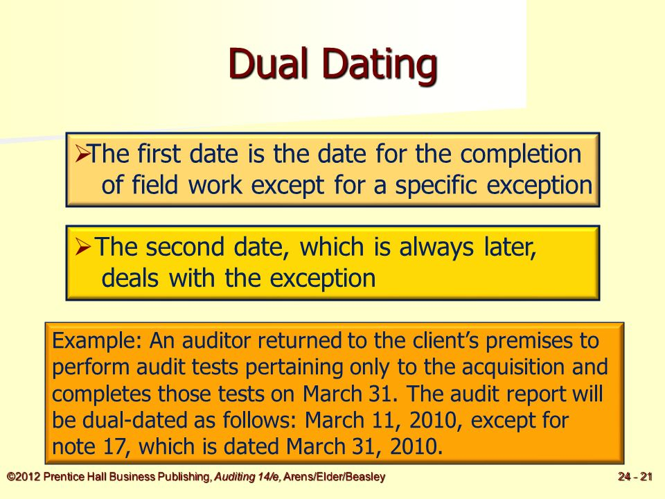 Dual dating single audit report