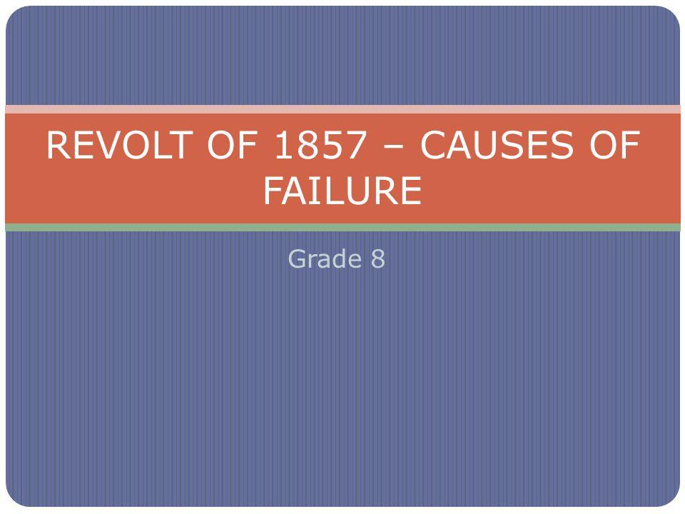 Grade 8 REVOLT OF 1857 – CAUSES OF FAILURE