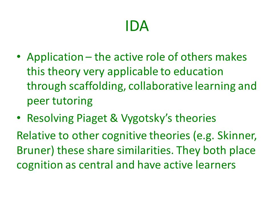 the application of vygotskys theory to Lev vygotsky's social development theory application of the social development theory to instructional design requires the teacher and students to play.