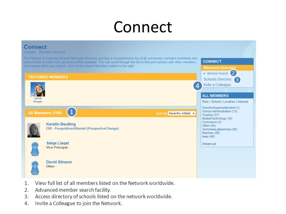 Connect 1 1.View full list of all members listed on the Network worldwide.
