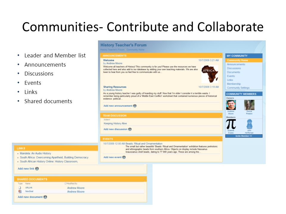 Communities- Contribute and Collaborate Leader and Member list Announcements Discussions Events Links Shared documents