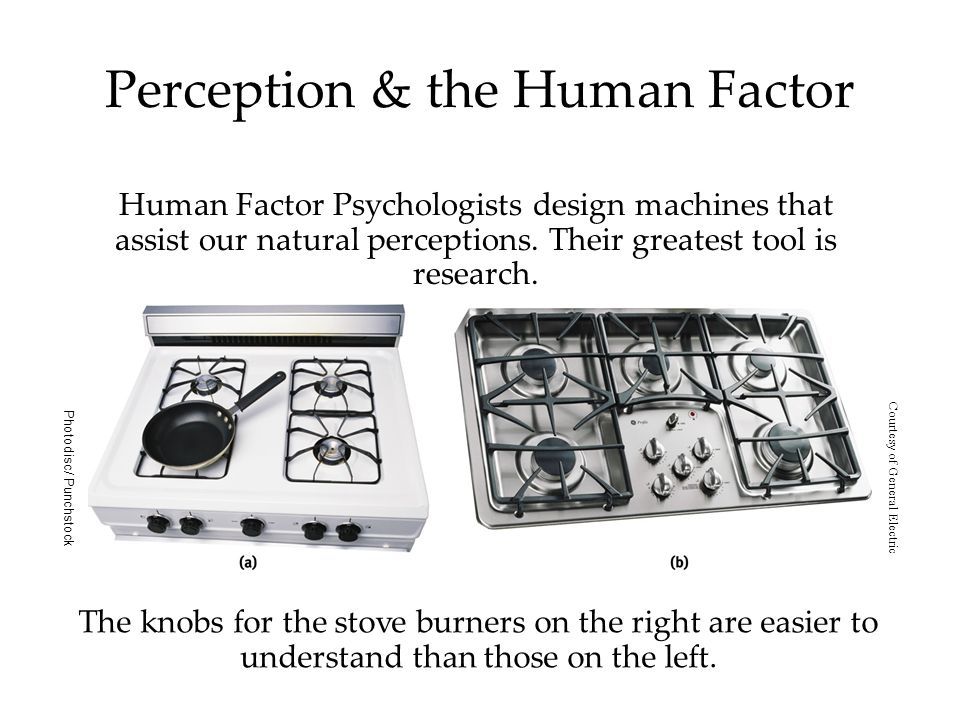 Perception & the Human Factor Human Factor Psychologists design machines that assist our natural perceptions.