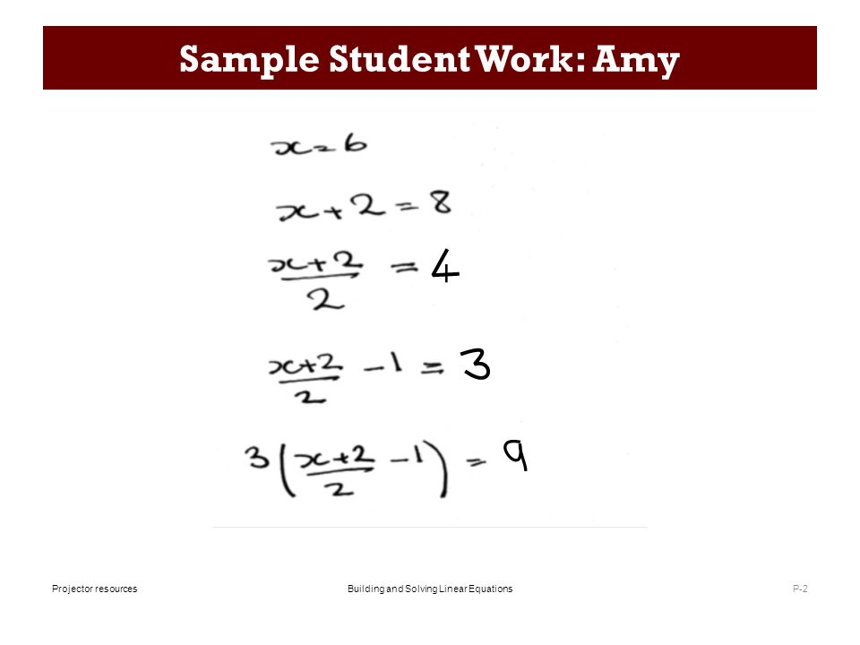 Building and Solving Linear EquationsProjector resources Building – Solving Linear Equations Worksheet