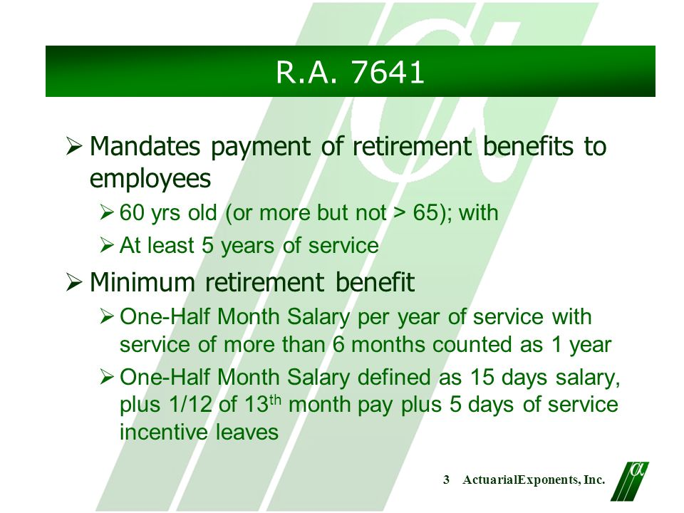 Proposed Retirement Program  Actuarialexponents Inc Retirement