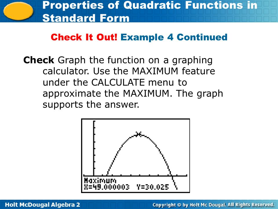 Holt Mcdougal Algebra 2 Properties Of Quadratic Functions In