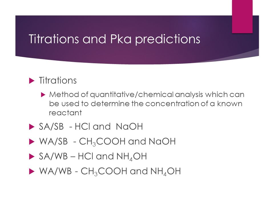 Titrations And Pka Chemistry Titrations And Pka Predictions