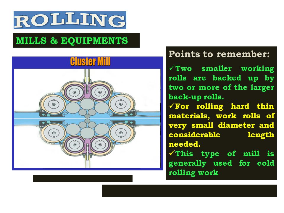 MILLS & EQUIPMENTS Two high would result in wavy rolled plates or sheets unevenly thick Points to remember: It is essentially a two- high rolling mill Two middle rolls are smaller in size than the top and bottom rolls Smaller size rolls (working rolls) concentrate the total rolling pressure over the workpiece.