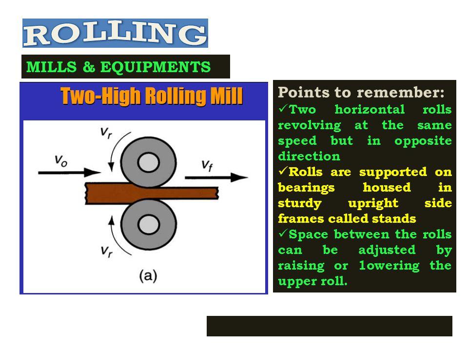 MILLS & EQUIPMENTS Driving Power per Roll: P R = T x w T=FXR/2