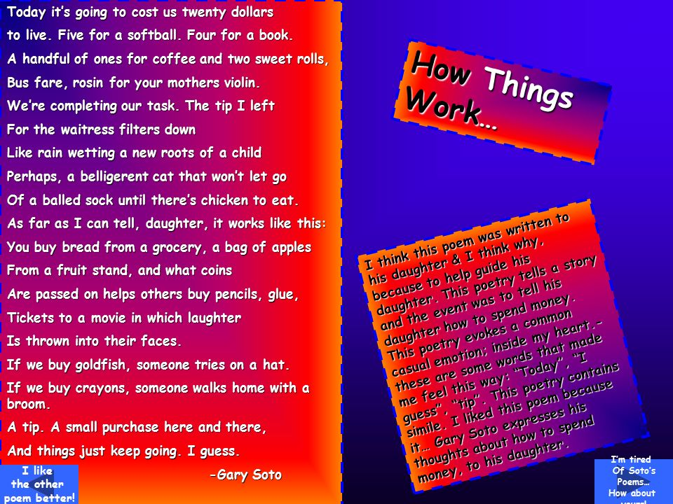 the constant struggle in gary sotos poem mexicans begin jogging Hiphughes spends the constant struggle in gary sotos poem mexicans begin jogging a few moments throwing down the basics about a definition and role of osmosis the.
