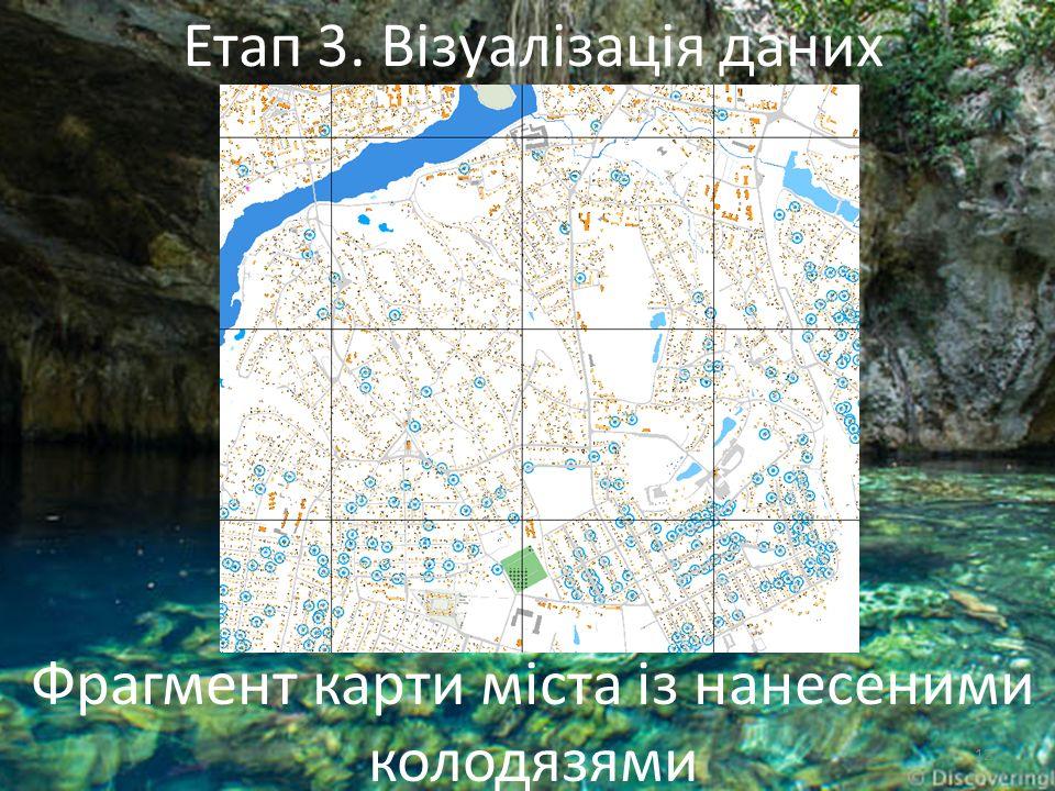 12 Фрагмент карти міста із нанесеними колодязями Етап 3. Візуалізація даних