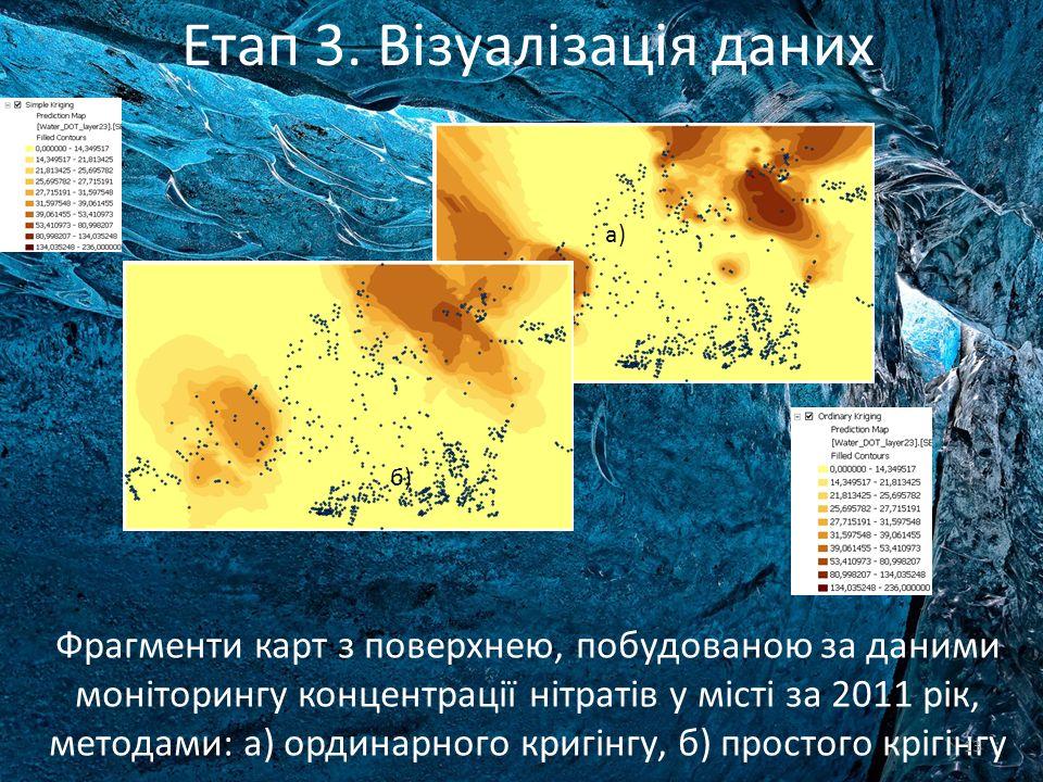Фрагменти карт з поверхнею, побудованою за даними моніторингу концентрації нітратів у місті за 2011 рік, методами: а) ординарного кригінгу, б) простог