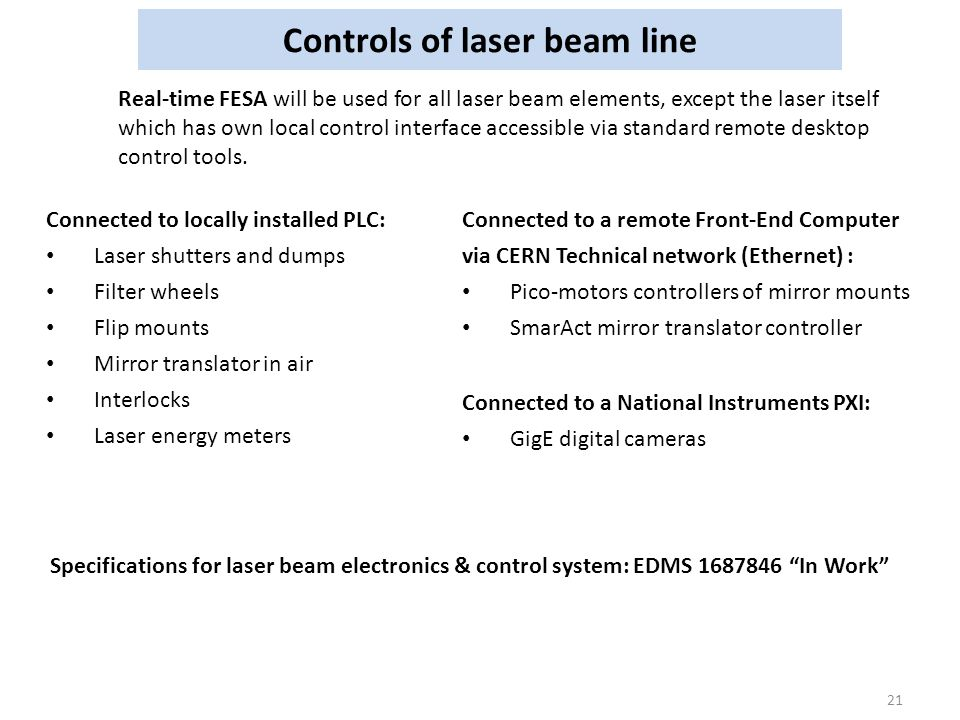 Controls of laser beam line 21 Real-time FESA will be used for all laser beam elements, except the laser itself which has own local control interface accessible via standard remote desktop control tools.